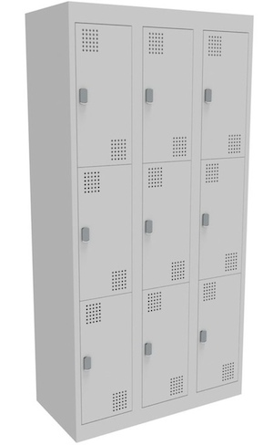 NZ 3 Door Bank of 3 Locker 300mm