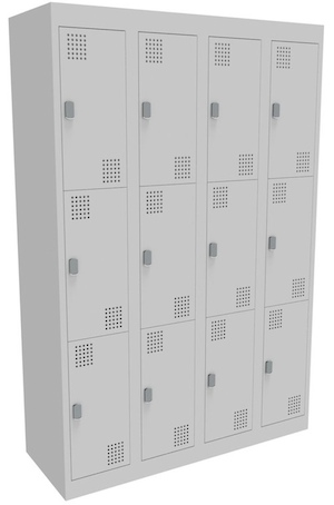 NZ 3 Door Bank of 4 Locker 300mm