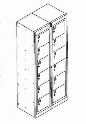 NZ 6 Door Bank Of 2 Folded Laundry Locker
